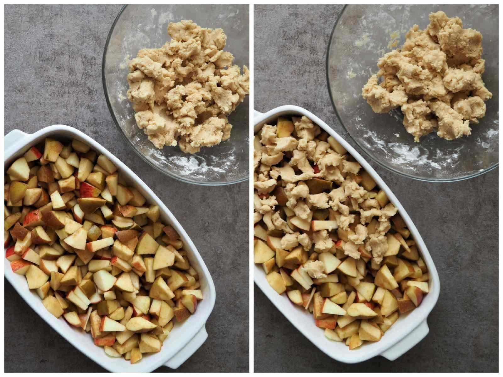 Streusel werden über veganen Apfel-Crumble gegeben