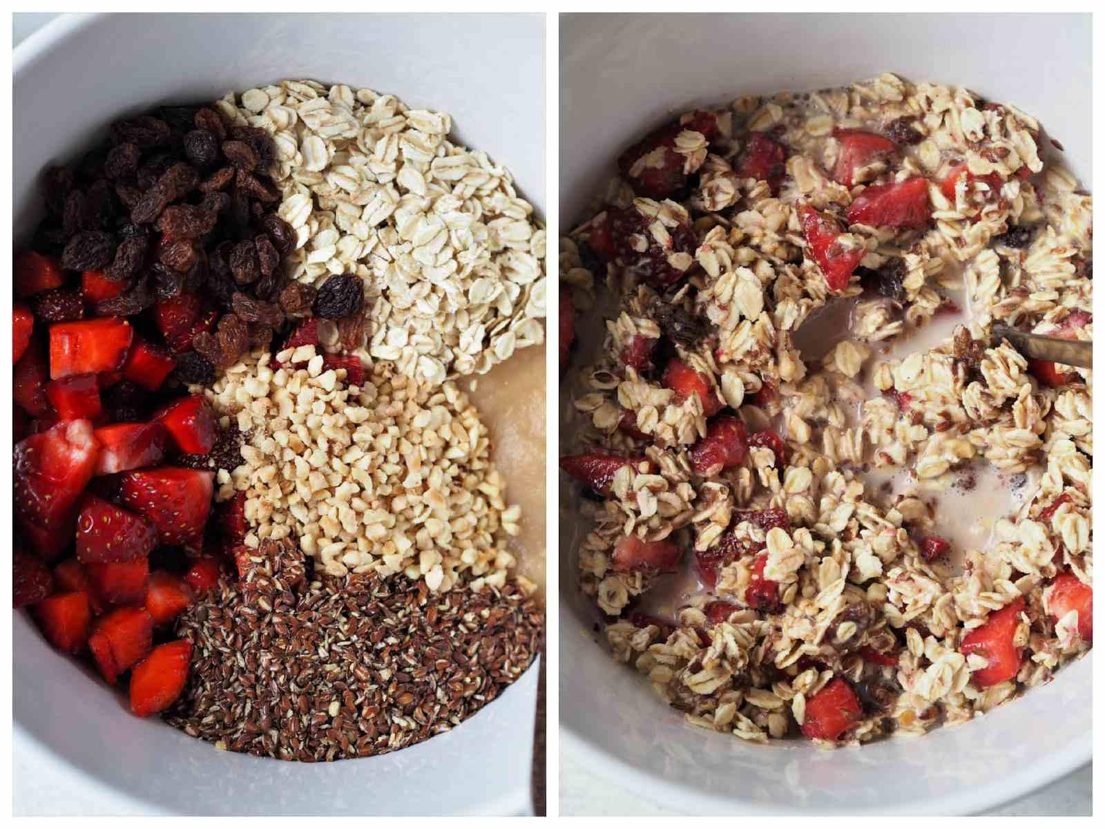 Zutaten Gebackene Haferflocken mit Erdbeeren in Schüssel und vermixt