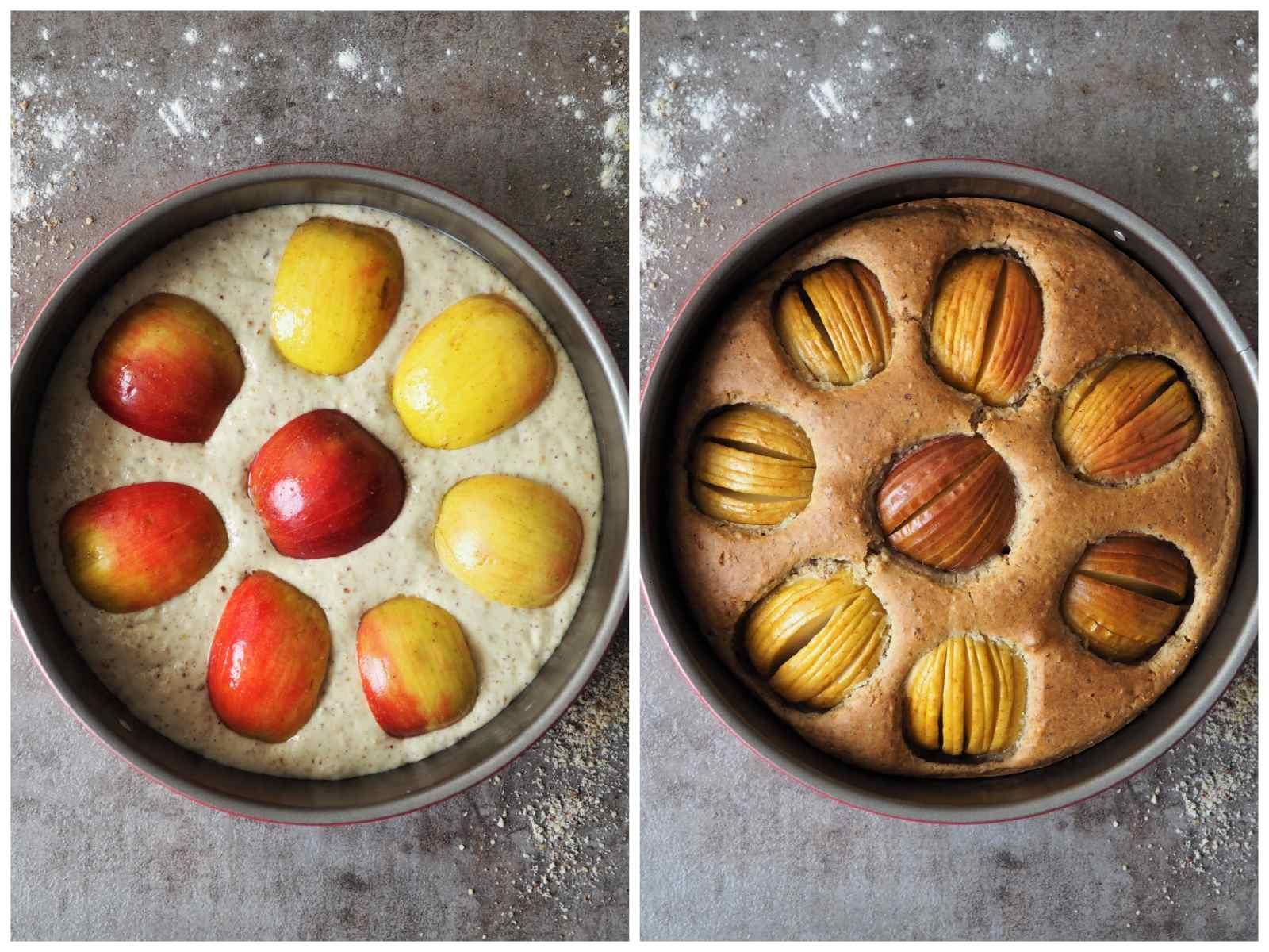 Veganer Versunkener Apfelkuchen vor und nach dem Backen