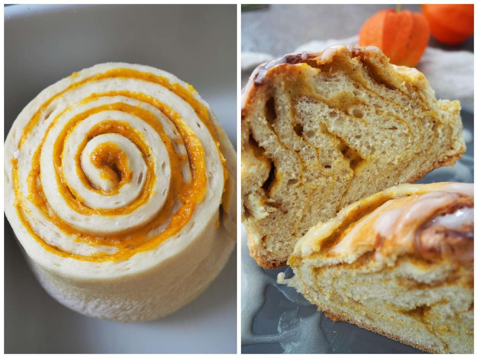 Pumpkin Spice Rolls / Kürbisschnecken Teigling und Details von innen