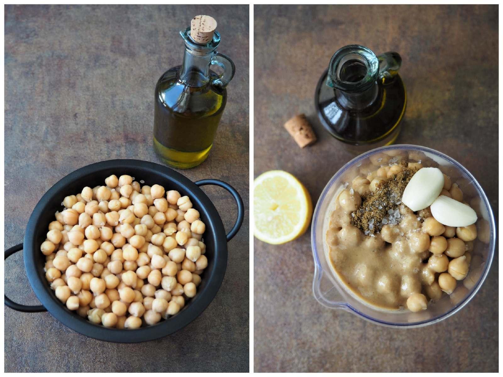 Selbstgemachter Hummus Zutaten abgebildet