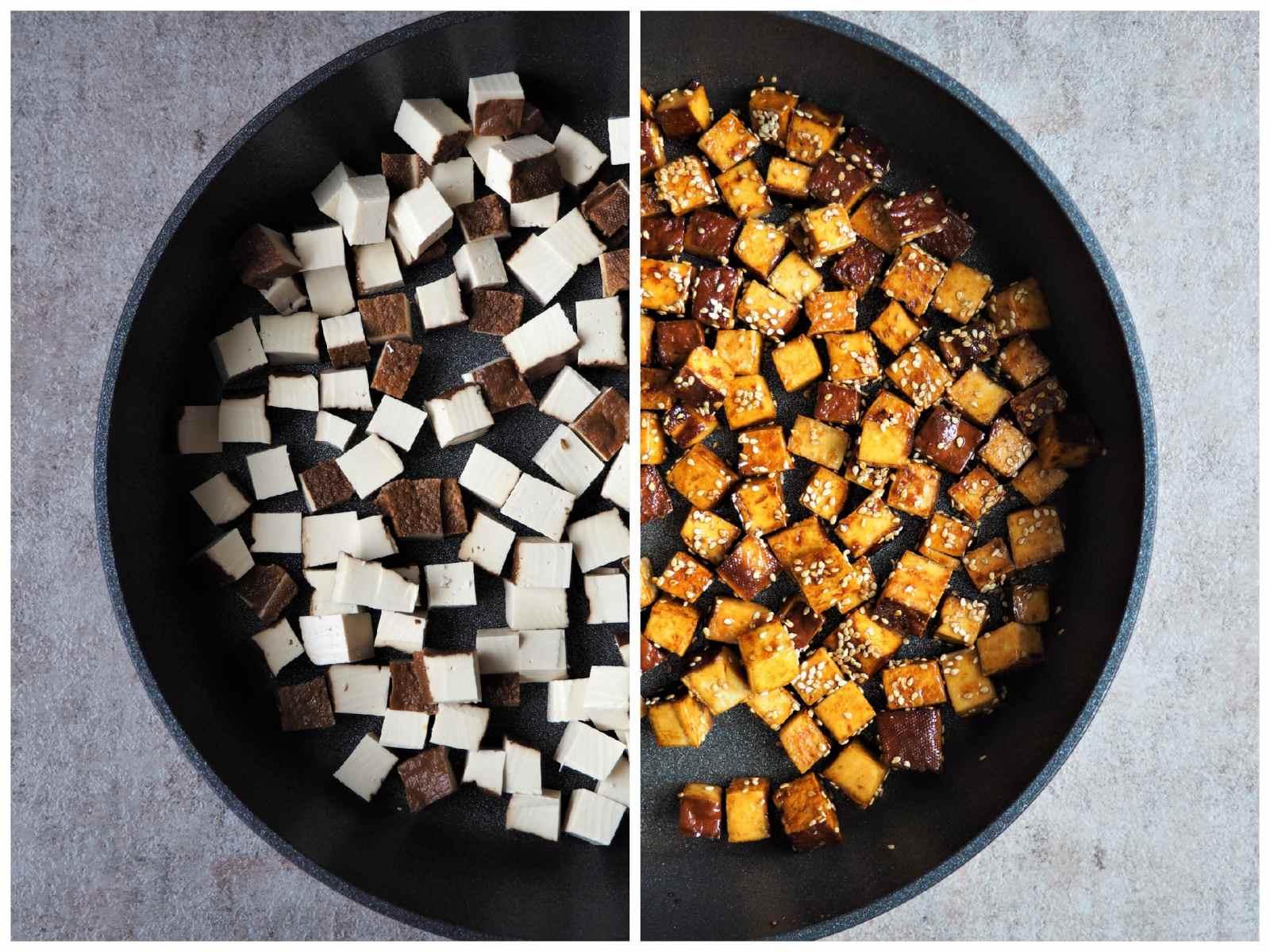 Tofu knusprig und würzig zubereitet