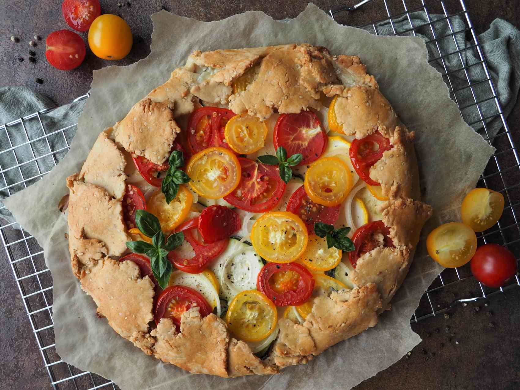 Vegane Tomaten-Zucchini-Galette