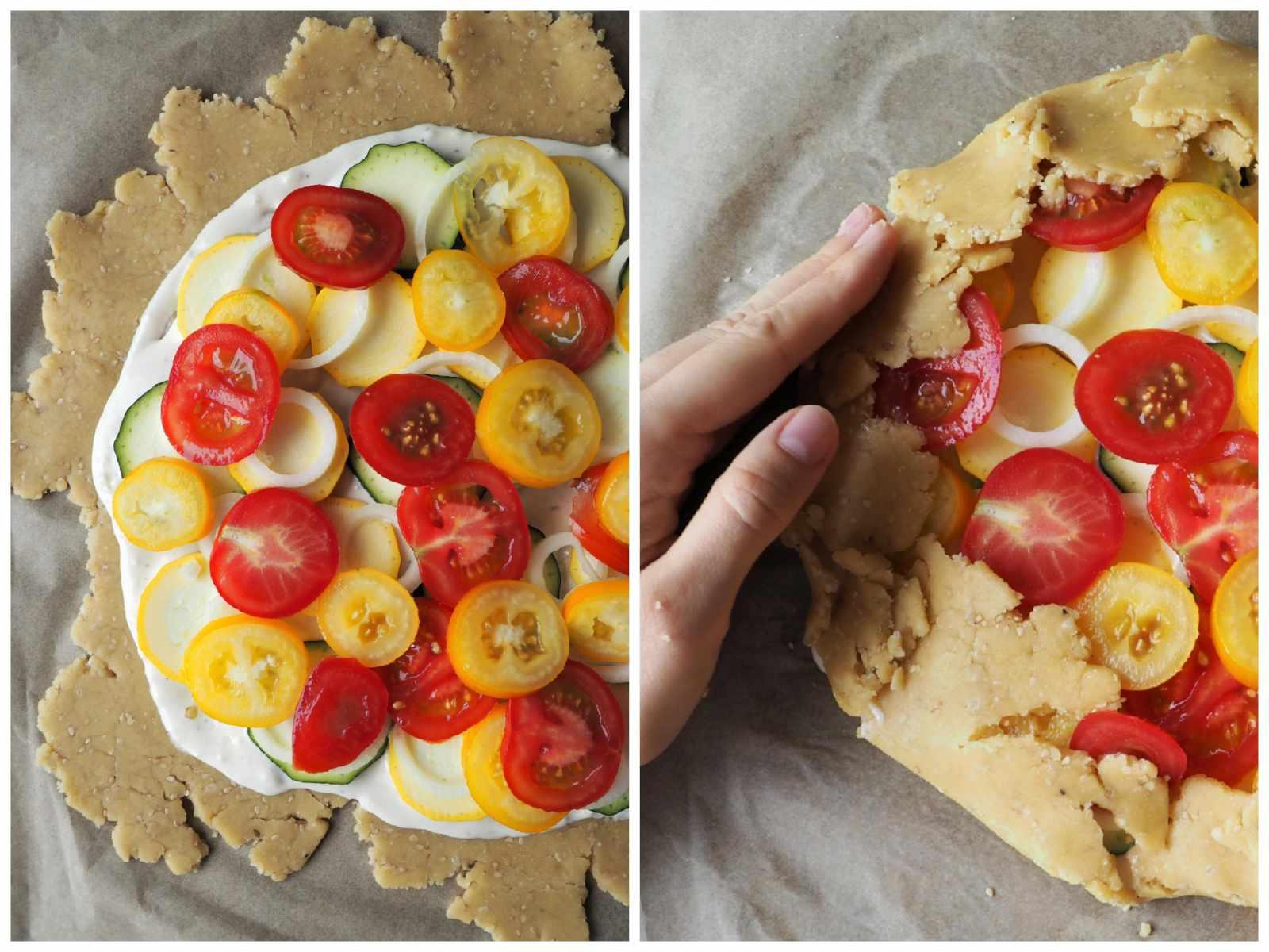 Vegane Tomaten-Zucchini-Galette Zubereitungsschritte