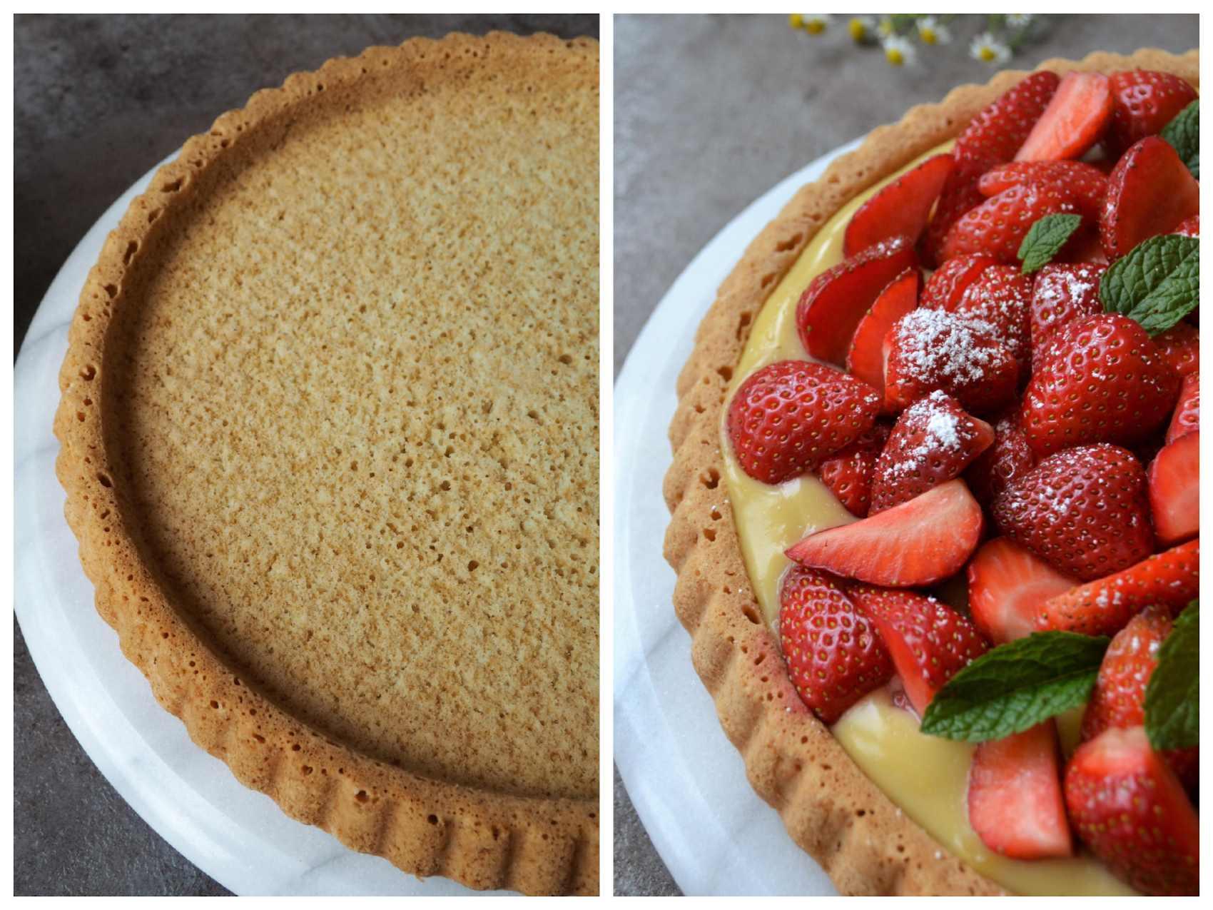 Einfacher Veganer Biskuit Obsttortenboden einmal pur und einmal mit Erdbeeren und Vanillepudding