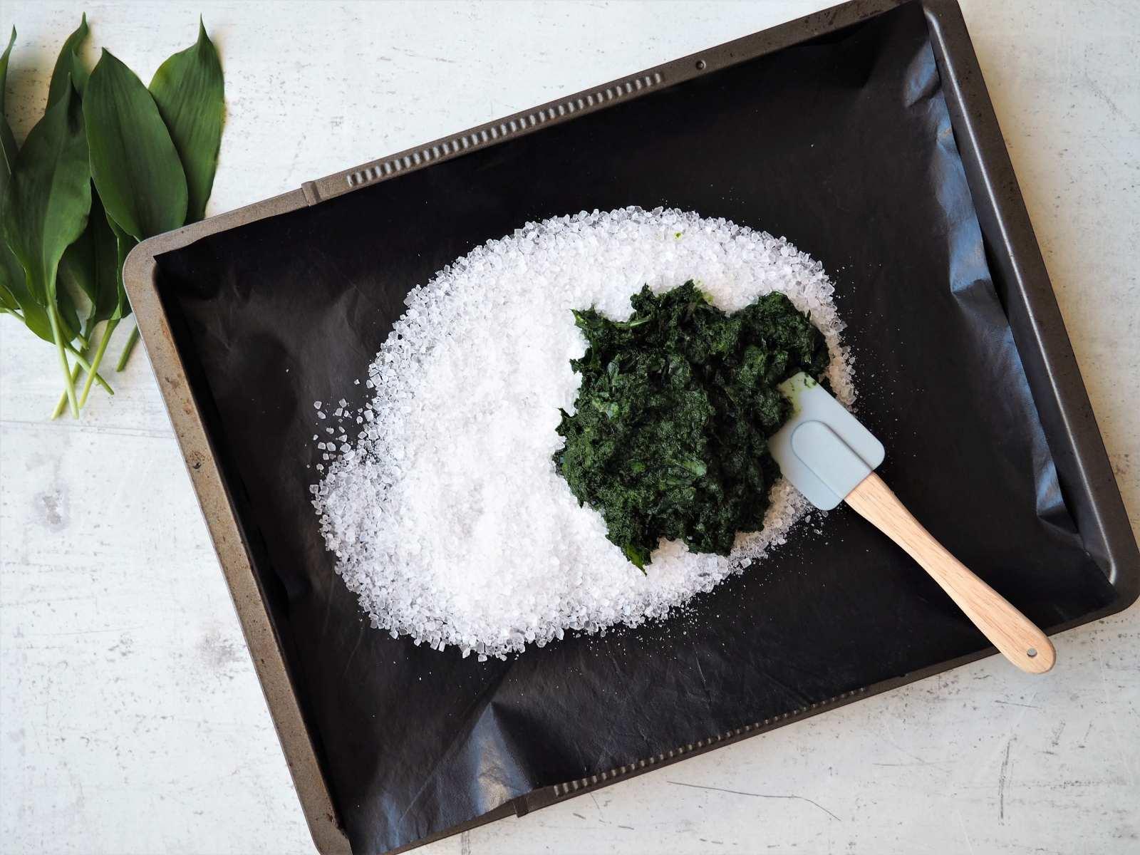 Selbstgemachtes Bärlauchsalz aus nur 2 Zutaten - auf Backbleck