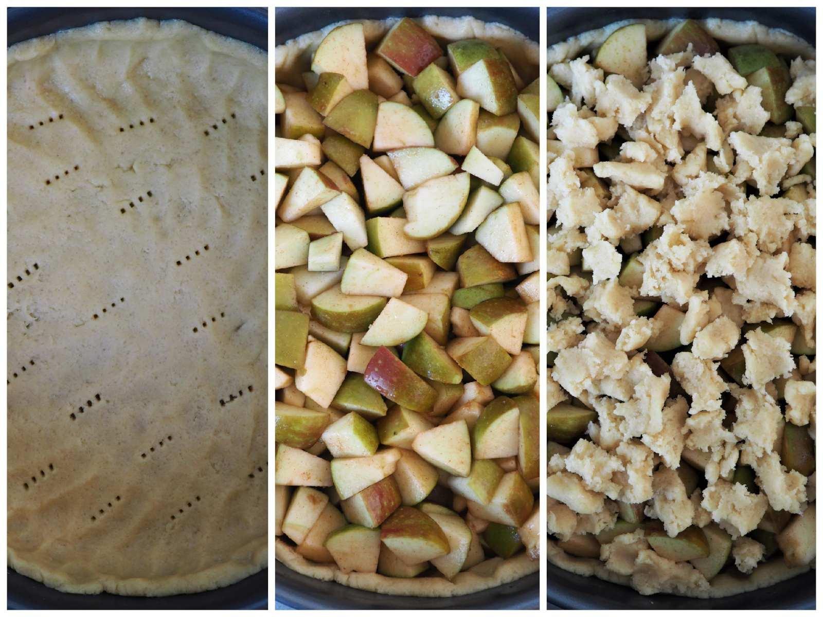 3 Zubereitungsschritte Veganer Apfel-Streusel-Kuchen