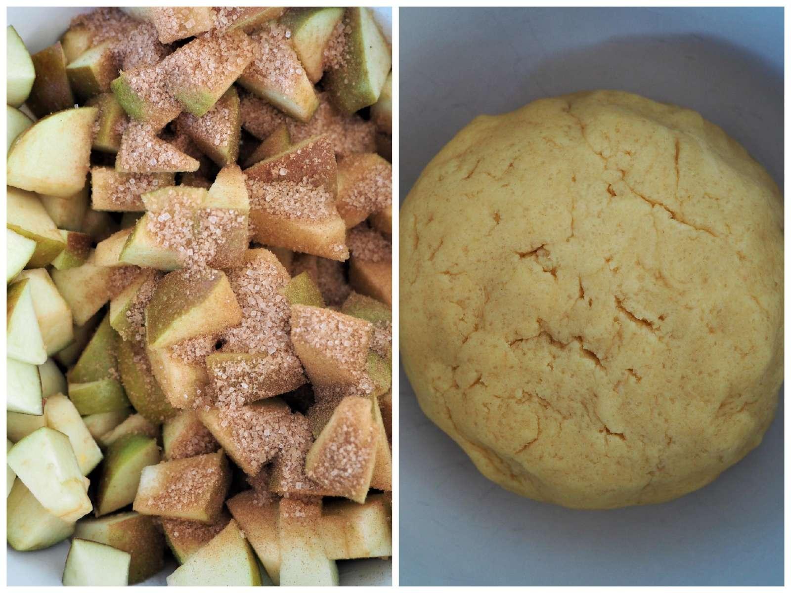 Veganer Apfel-Streusel-Kuchen Zutaten: Teig und Äpfel