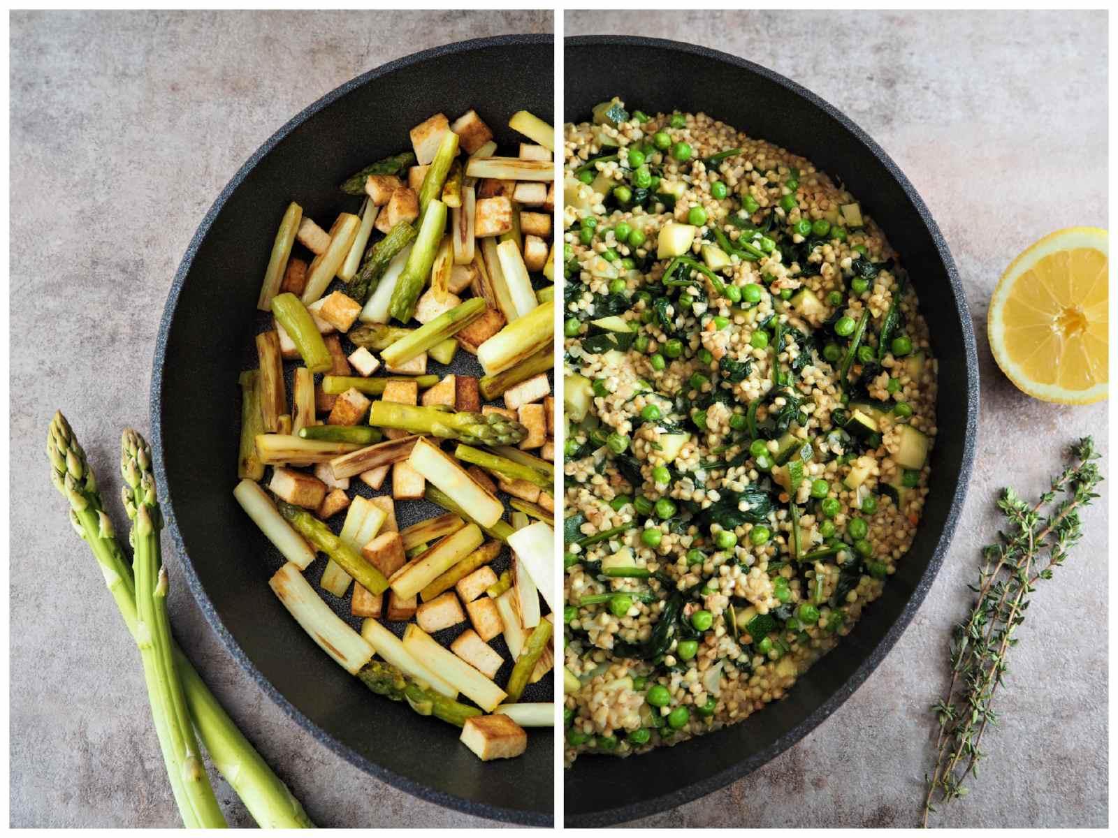 Veganes Spargel-Buchweizen-Risotto Zubereitung in der Pfanne