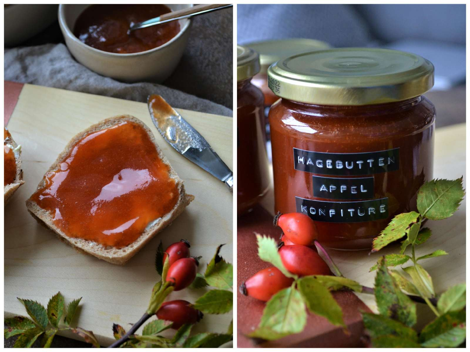 Hagebutten-Apfel-Konfitüre im Marmeladenglas und auf Brötchen