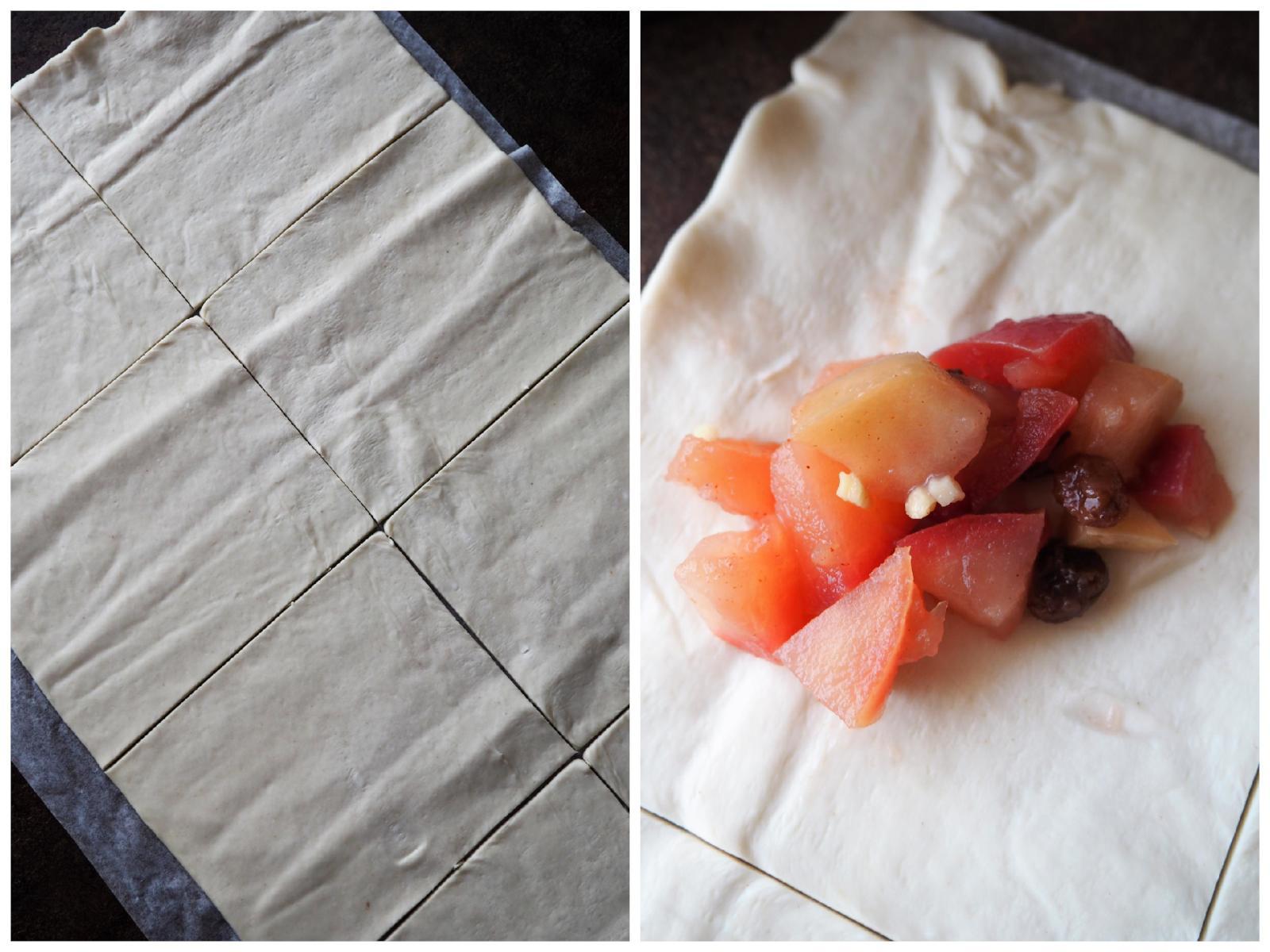 Vegane Apfeltaschen Zubereitung Füllung in den Blätterteig