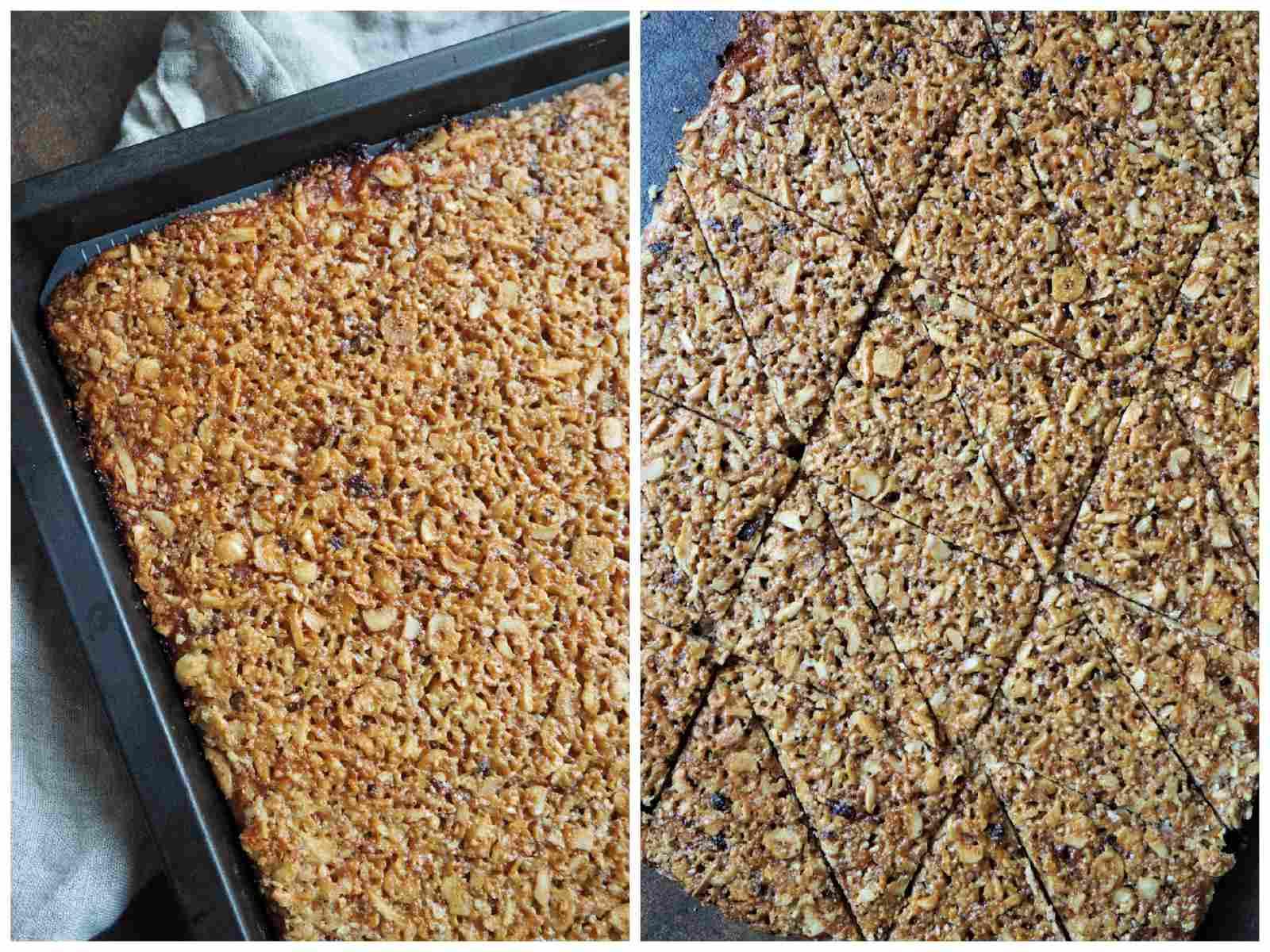 Vegane Nussecken Nuss-Masse gebacken