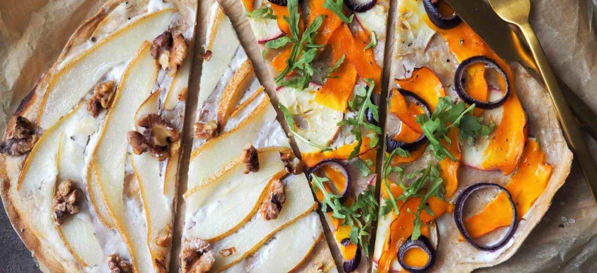 Zweierlei vegane Flammkuchen: herzhaft und süß