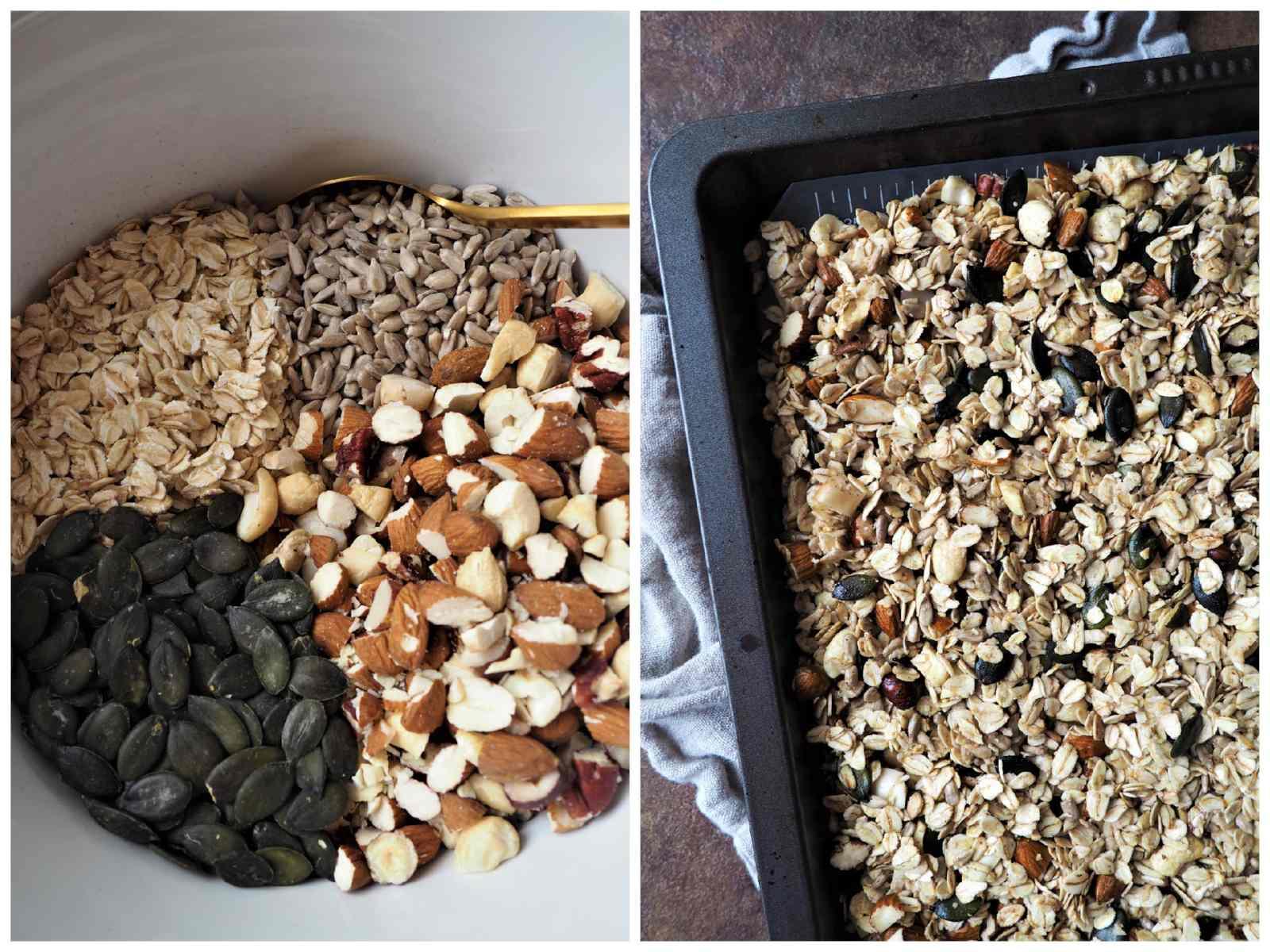 Veganes Pumpkin Pie Spice Knuspermüsli - Alle Zutaten in der Schüssel und auf dem Backblech