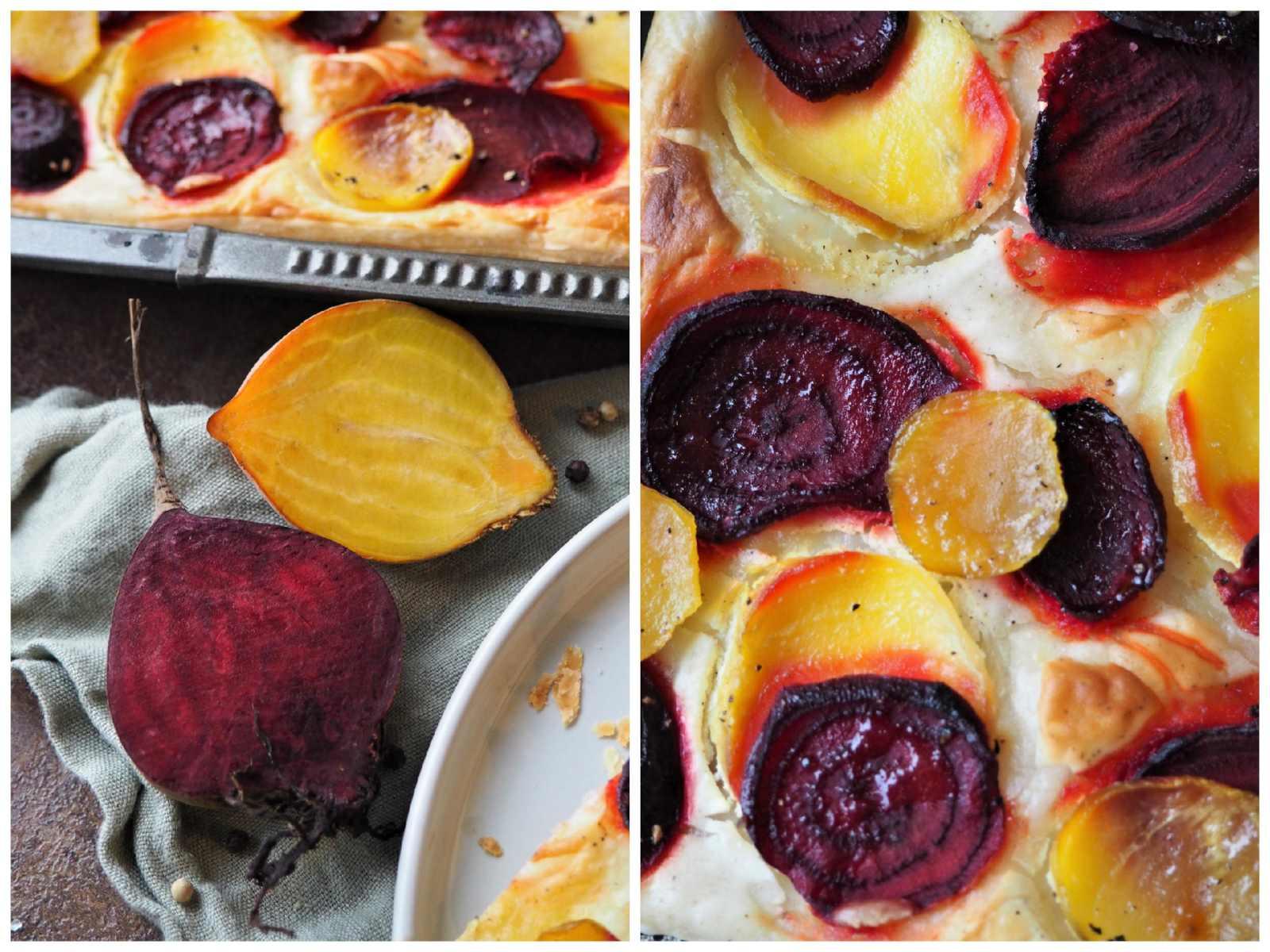 Vegane Blätterteigpizza mit Gelber und Roter Bete und Rucola-Garnitur Goldbraun gebacken