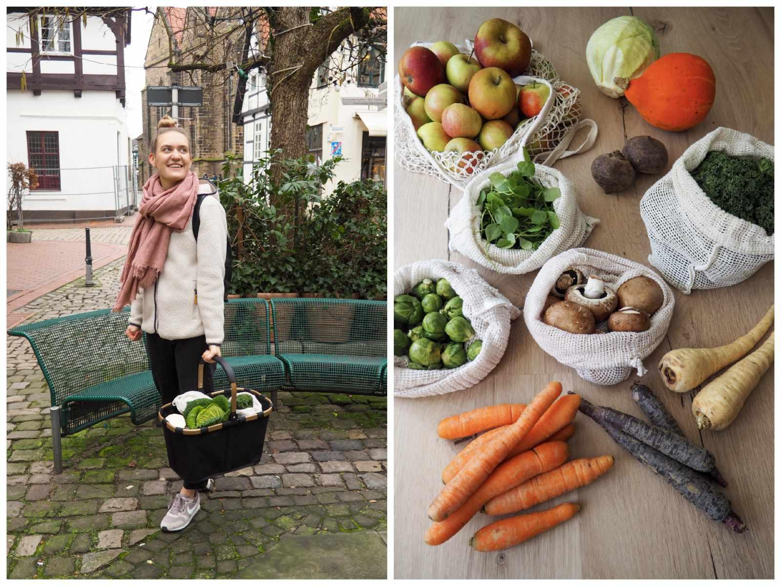 Foto von Marleen mit Einkaufskorb und regionalem Obst und Gemüse