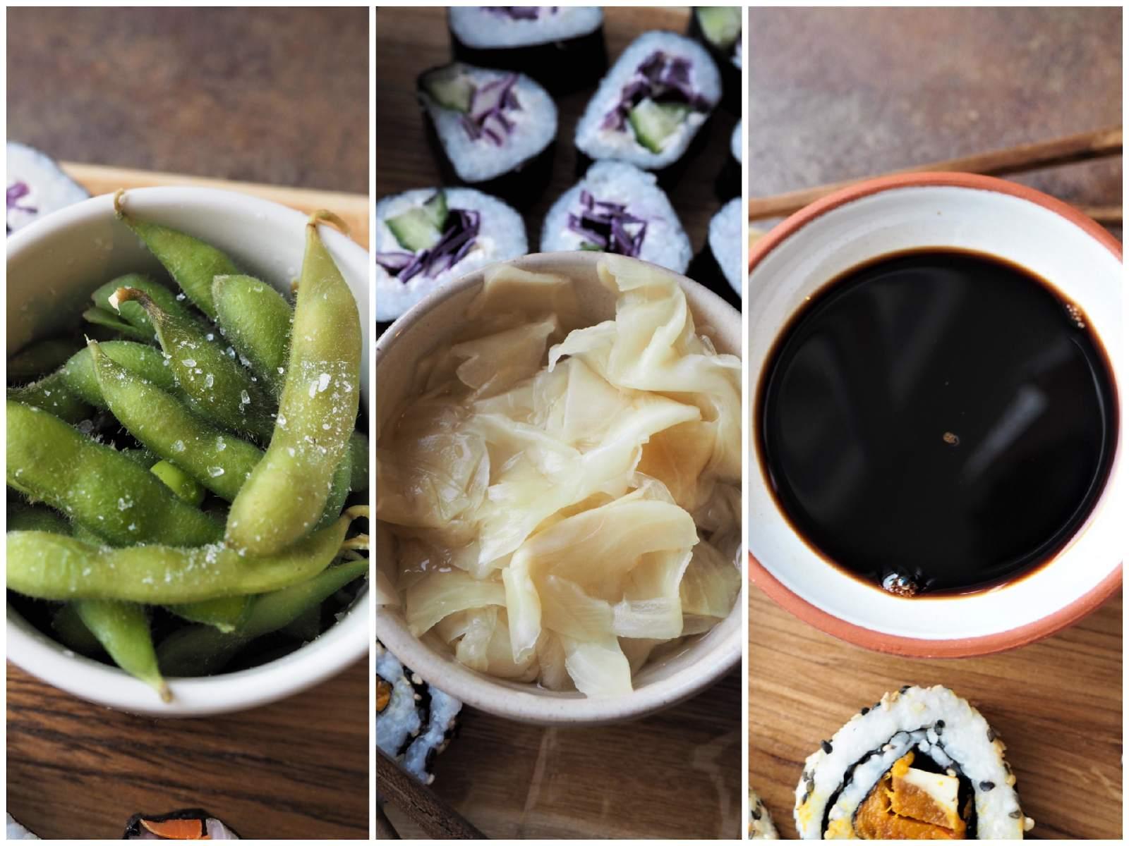 Veganes Sushi Verschiedene Sorten - Beilagen: Wasabi, Ingwer, Sojasauce