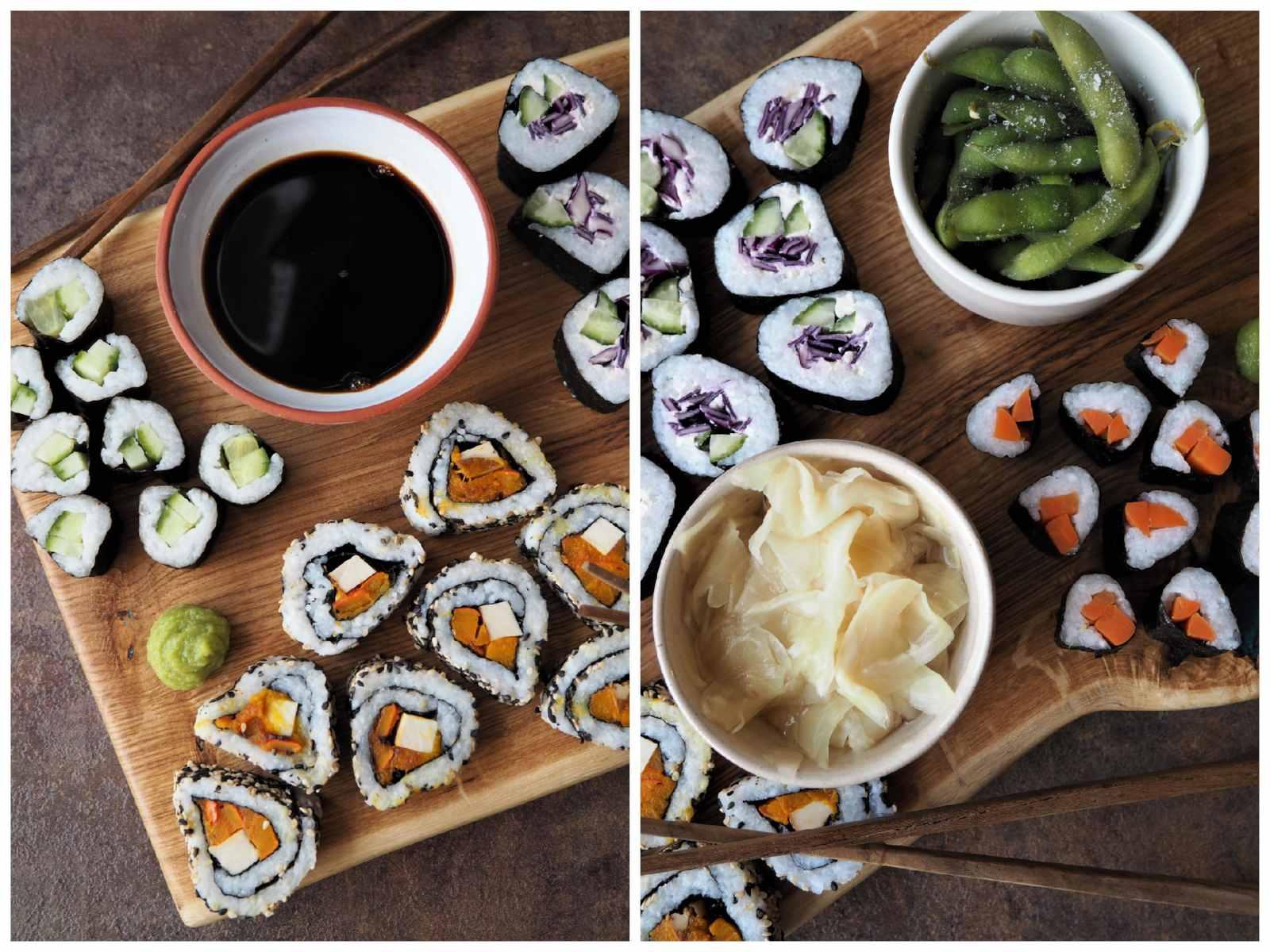 Veganes Sushi selbermachen - verschiedene bunte Sorten - angerichtet auf Holzbrett