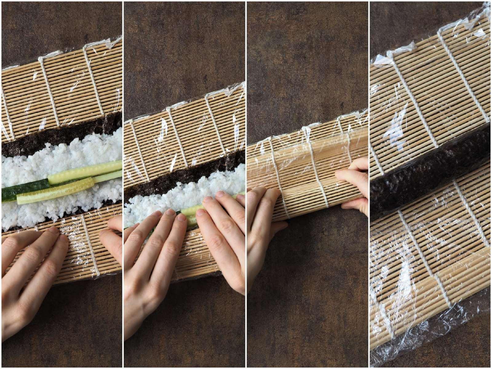 Veganes Sushi verschiedene Sorten - How To Hoso Maki Rollen