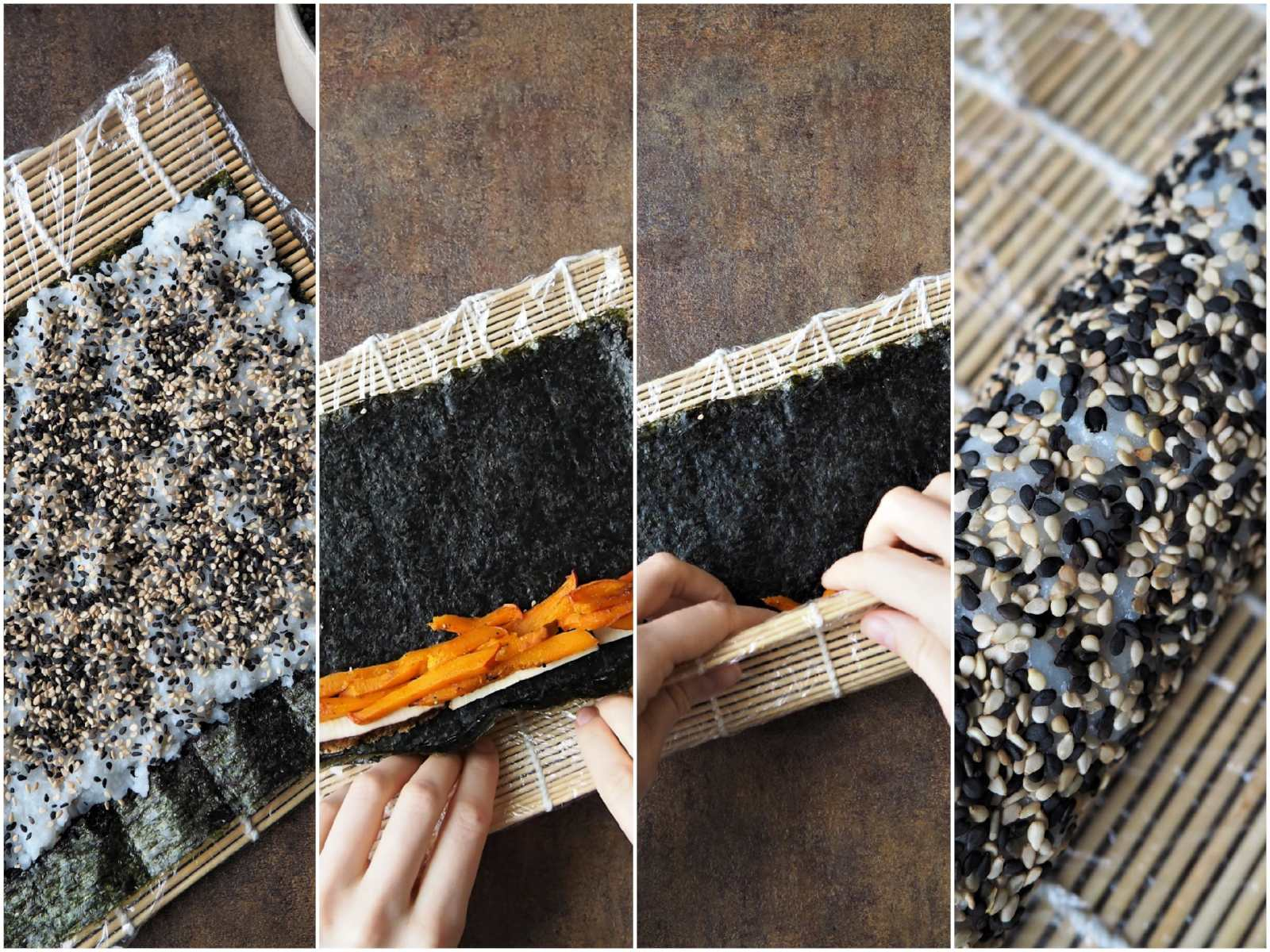 Veganes Sushi verschiedene Sorten - How To Inside-Out-Rolls rollen
