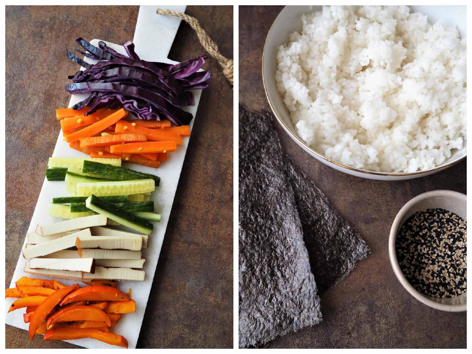 eganes Sushi selbermachen - verschiedene bunte Sorten - Zutaten