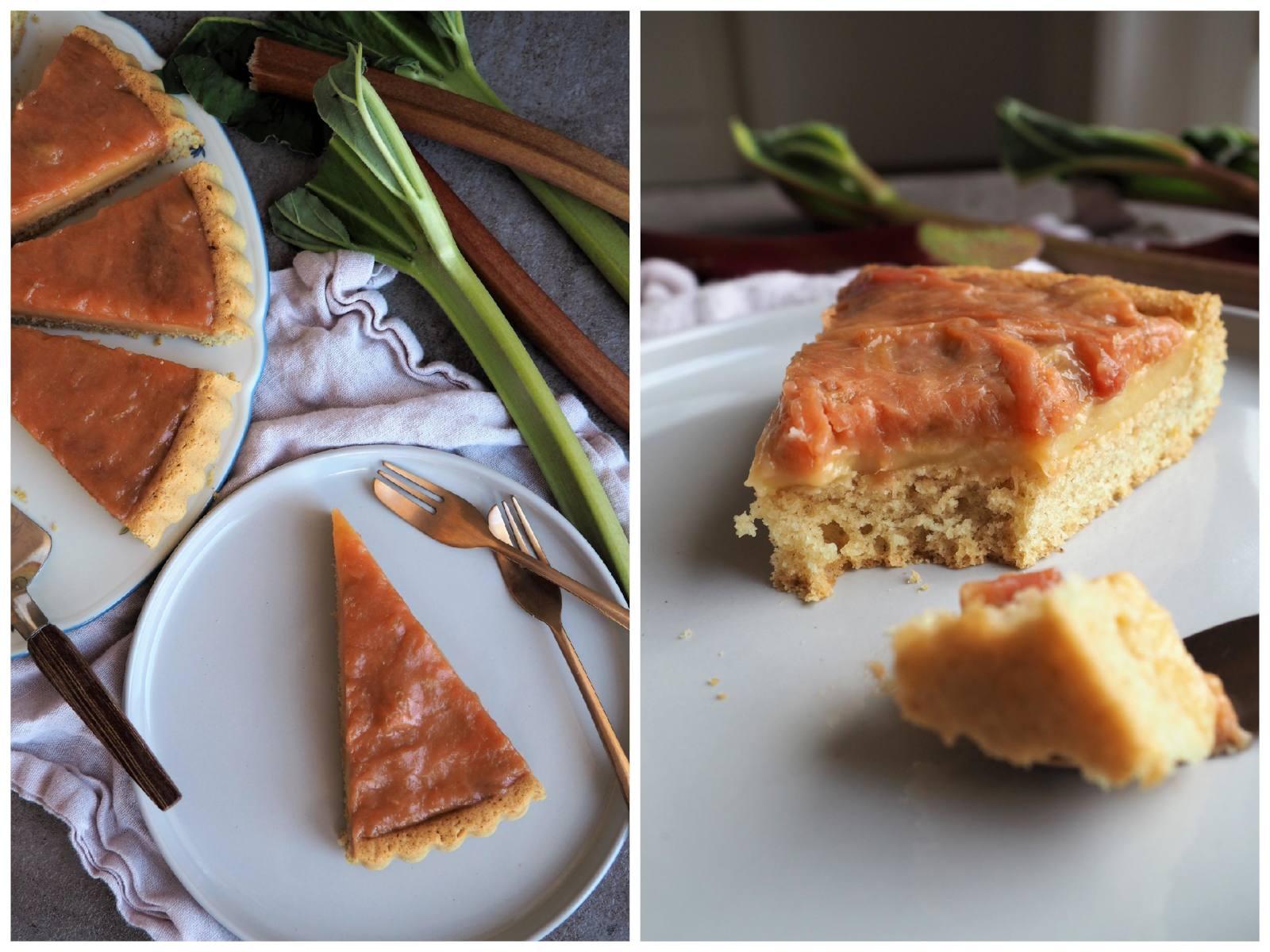 Veganer Rhabarberkuchen mit Pudding und Biskuitboden auf Tortenplatte und Details Anschnitt