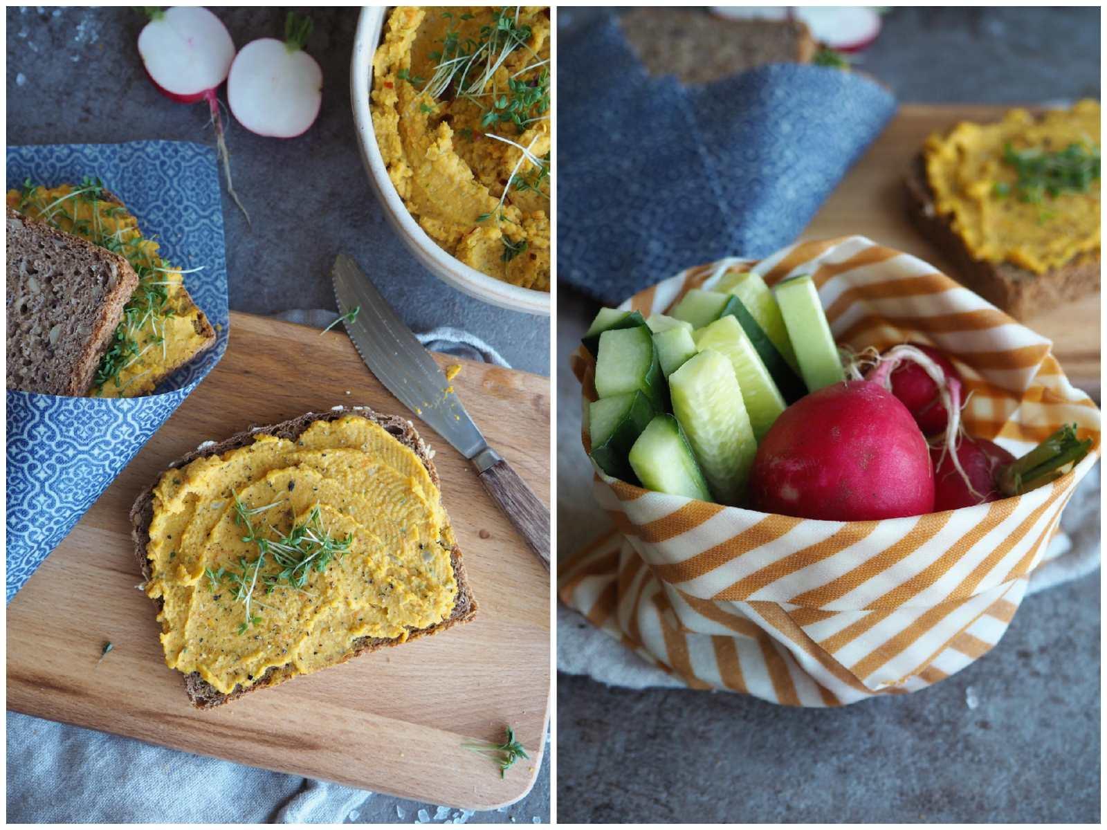 Möhren-Hummus mit Kresse und Rohkost
