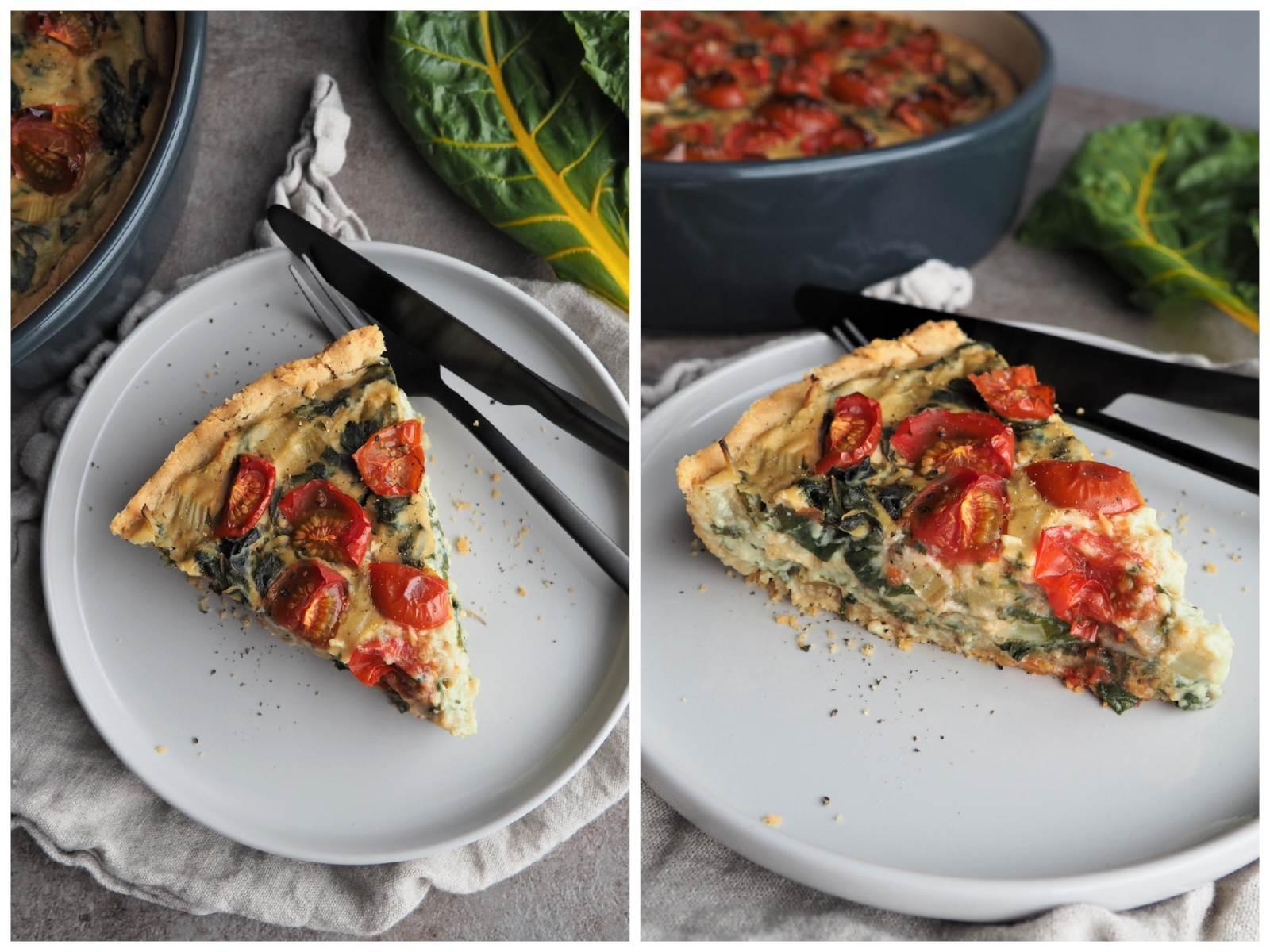 Vegane Mangold-Quiche mit Tomaten und Seidentofu auf Teller