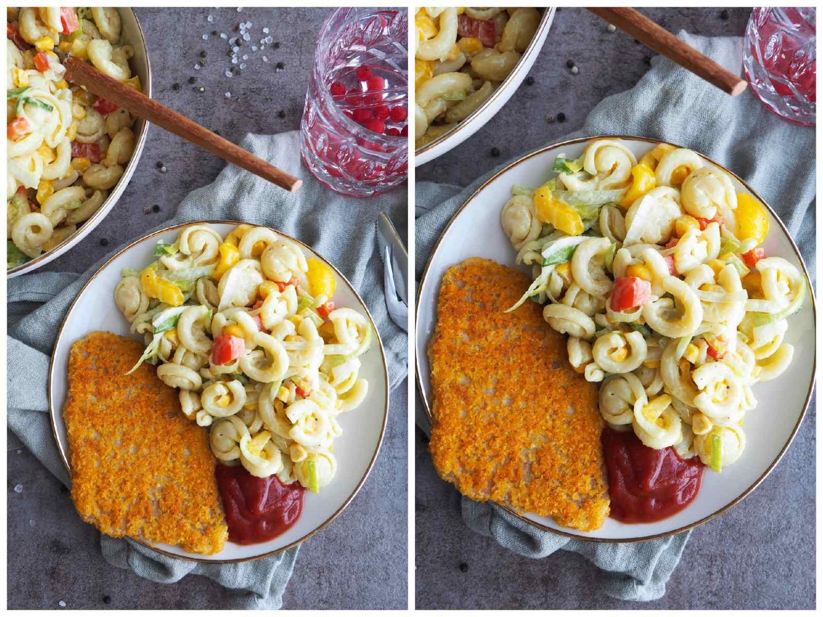 Veganer Trulli Nudelsalat mit veganem Schnitzel und Ketchup auf Teller